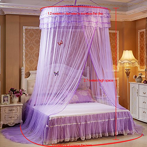 SINOTOP Round mosquito nets Luxury Princess Pastoral Lace Bed Canopy Net Crib Luminous butterfly (purple)