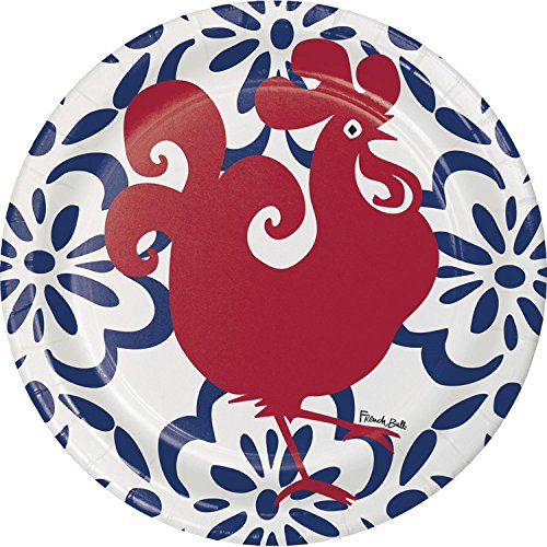 (Club Pack of 120 Red Rooster and Blue Floral Dinner Party Plates 10