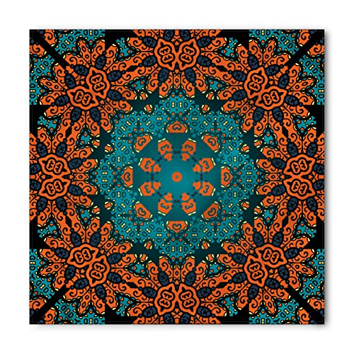 Psychedelic Bandana by Ambesonne, Round Flowers Floral Patterns with Psychedelic Motif Boho Hippie Style Image, Printed Unisex Bandana Head and Neck Tie Scarf Headband, 22 X 22 Inches, Teal Orange (Tie Print Hippie)