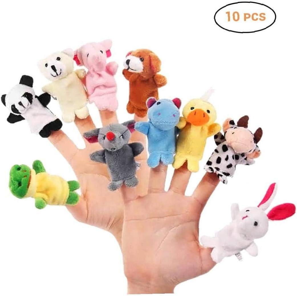 Byfri 10pcs / Set Animal de la Historieta marioneta del Dedo de la Felpa Juguetes para niños para niños Juguetes de Peluche del Favor de Las muñecas Vingerpoppetjes
