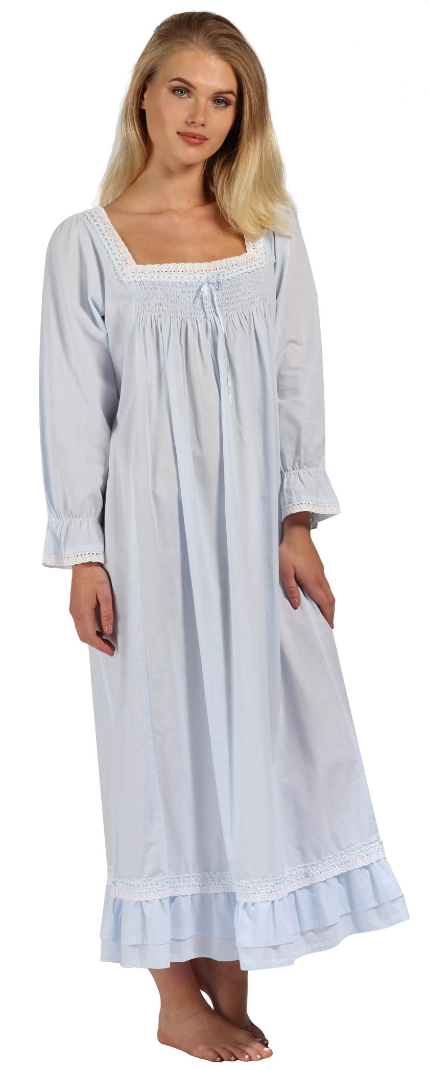 The 1 for U Martha Nightgown 100% Cotton Victorian Style - Sizes XS - 3X … (XL, Blue) by The 1 for U