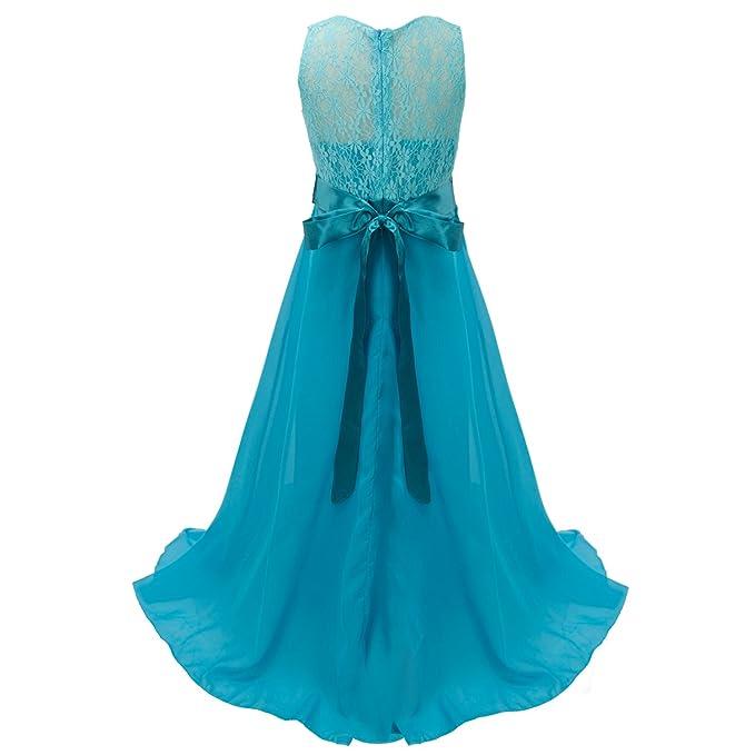 discoball Niñas Encaje Vestido de gasa vestidos de novia (longitud de suelo vestido largo vestido de niña de flores de boda de dama (10 colores, ...