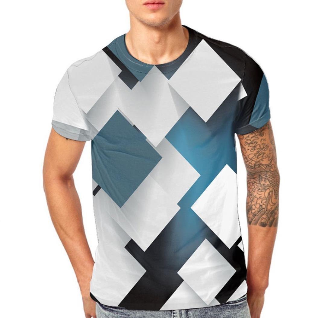 LuckyGirls Camisa Camisetas Originales Hombre Manga Cortos Verano Estampado de Bloques Splicing Deportivas Blusa Moda Polos Casuales Slim Remera Tallas Grandes (M~5XL)