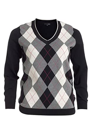 Ellos Women's Plus Size V-Neck Argyle Sweater at Amazon Women's ...