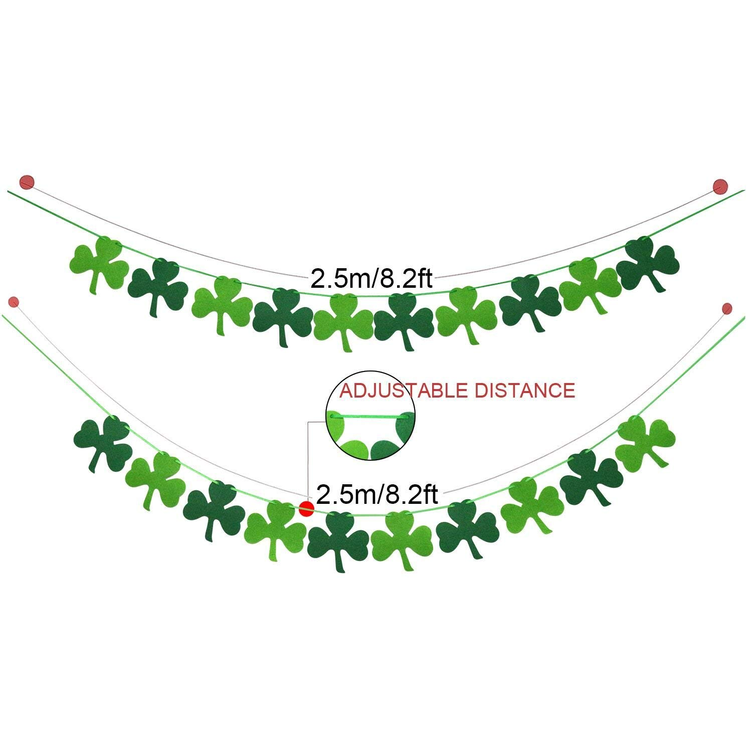 Clover Garland Banner 9.8ft Each Patricks Day Decoration Home Mantel Decor St Irish Day Party Supplies Pack of 2 Green Shamrock Garland Bunting