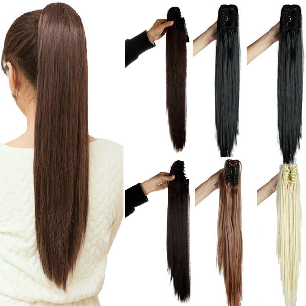 18 21 inches Straight Curly Wavy Claw Clip on Ponytail Hair Extensions Hairpiece Pony Tail Any Color Extension (21-Straight, Dark Brown)