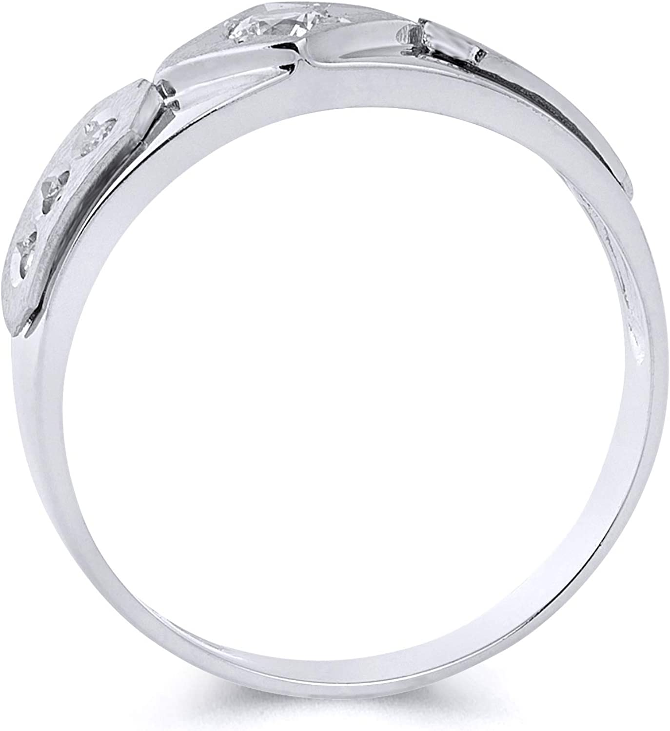 Wellingsale Mens Solid 14k White Gold Polished CZ Cubic Zirconia Wedding Band