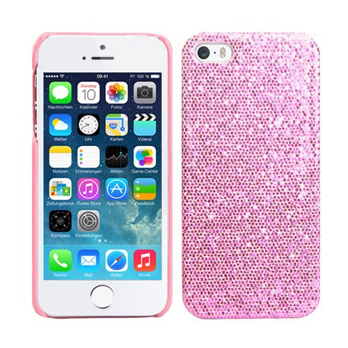 RT-TRADING Apple iPhone 5S Glitter Bling Glitzer Strass Hülle Hard Case Cover in Rosa