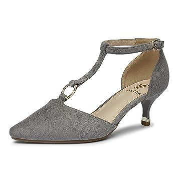 T Forma De En Wyyy Mujer Boca Hebilla Zapatos Con Bien Tacones awwRqAx