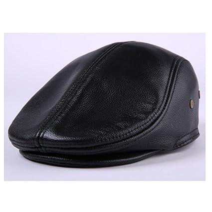 78ba668e905 WSHINE Flat Cap Cabby Hat Genuine Leather Vintage Newsboy Cap Ivy Driving  Cap (black
