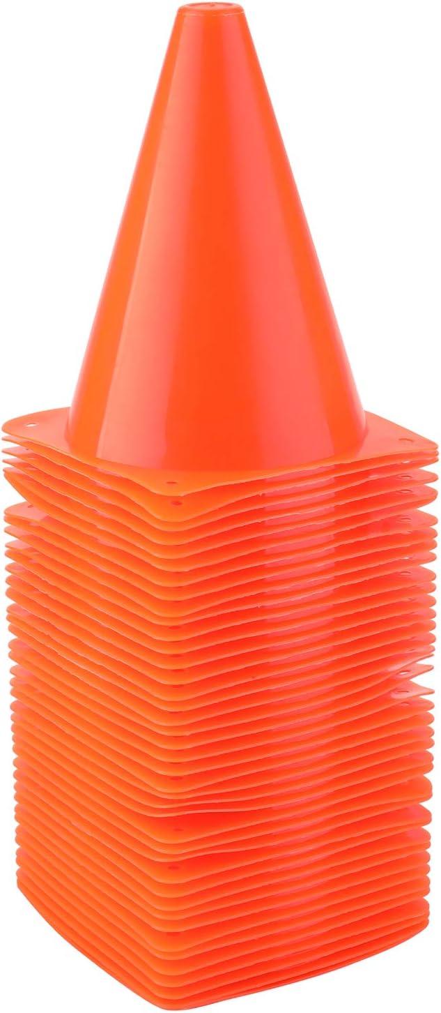 Faswin プラスチック製 スポーツトレーニング トラフィックコーン オレンジ 7インチ 40個パック