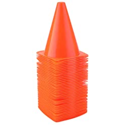 Faswin 40 Pack 7 Inch Plastic Sport Training Traffic Cone, Orange