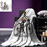 smallbeefly Teen Room Decor Custom printed Throw Blanket Young Girl in Paris Streets with Bike French Display Velvet Plush Throw Blanket Chestnut and Light Brown Pearl