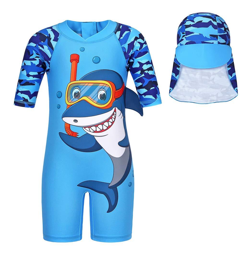 Edjude Boys Two Piece UV Sun Protection Swimwear Kids Cartoon Shark Swimming Costume Child Rash Guard Swimsuit Beachwear Wetsuit with Sun Hat for Boys 2-8 Years.