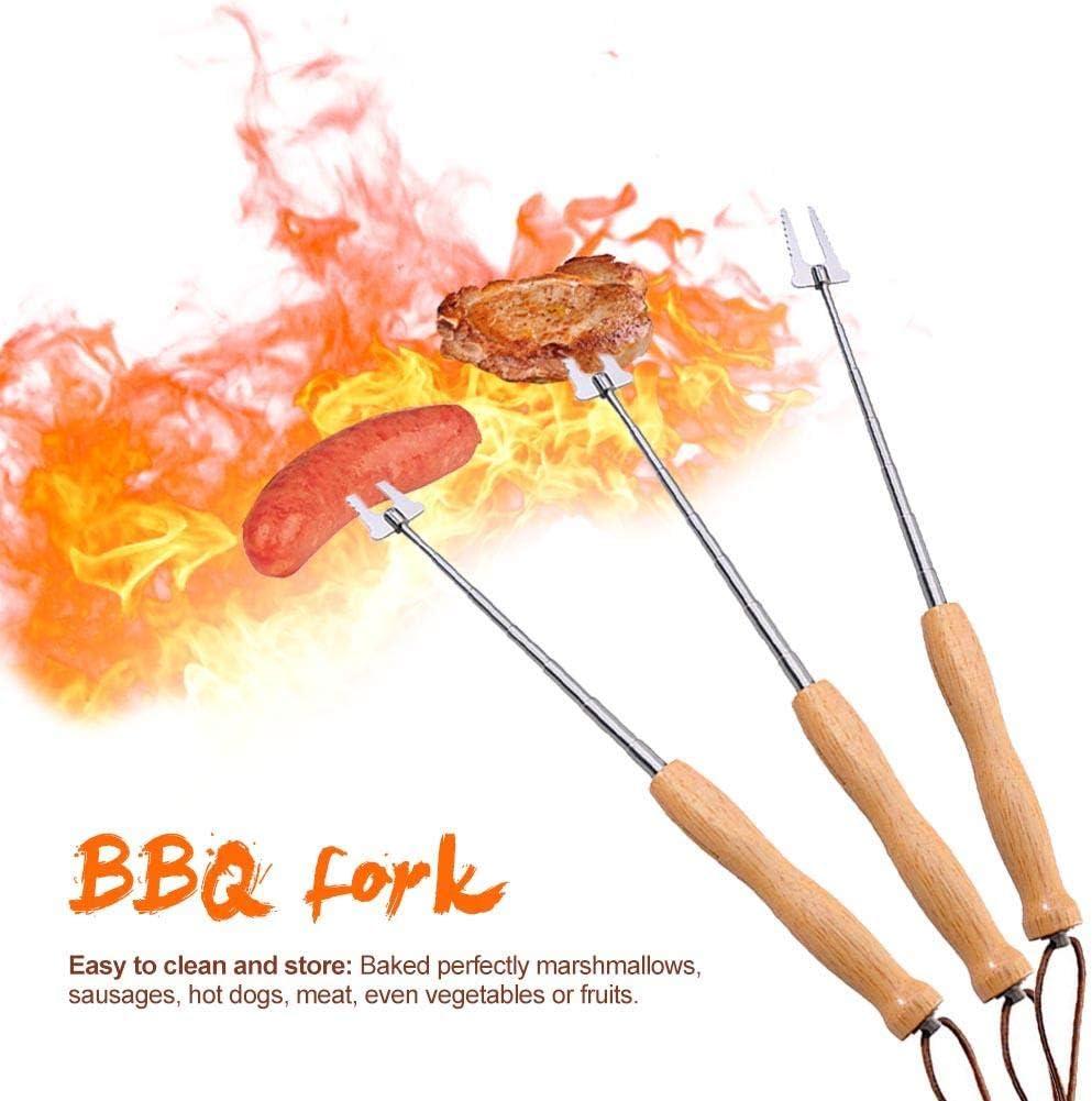 hemicala Grillspie/ße Aus Edelstahl Ausziehbare Schaschlikspie/ße Mit Holzgriff F/ür Lagerfeuer Marshmallow Hotdog Kebabs