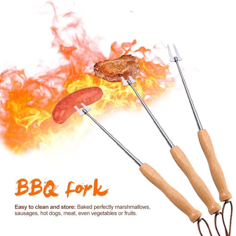 Fourche De Barbecue en Bois Robuste en Acier Inoxydable R/étractable Adapt/é pour BBQ Hot Dog T/élescopique Camping Feu De Camp Accessoires Fourche S/écurit/é Enfant R/ôtissage B/âtons