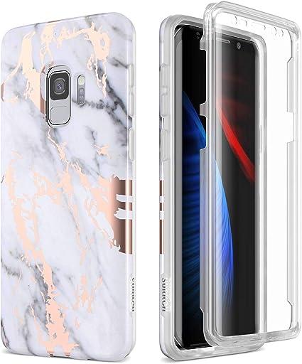 SURITCH Coque Samsung Galaxy S9 Silicone 360 Degrés Protection Rose Gold Marbre Souple Integrale Antichoc Etui De Protection Avant et Arrière Housse ...