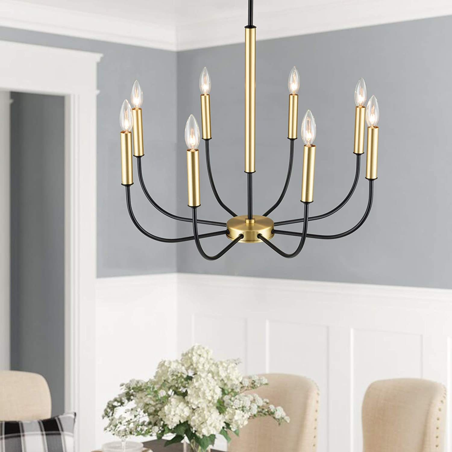 SOTTAE Modern 8-Light Candle Chandelier,Industrial Iron Black and Gold Chandelier Light Fixture,Farmhouse Pendant Chandelier Lighting for Dining Room Kitchen Foyer Bedroom 25.32