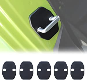 RT-TCZ for Jeep JK Accessories Door Lock Cover Buckle ABS Decor Trim Door Locker Protector Decoration Cover Sticker for JK 2007-2018 5 PCS Black for Jeep Wrangler Accessories Rubicon Sahara X Sport