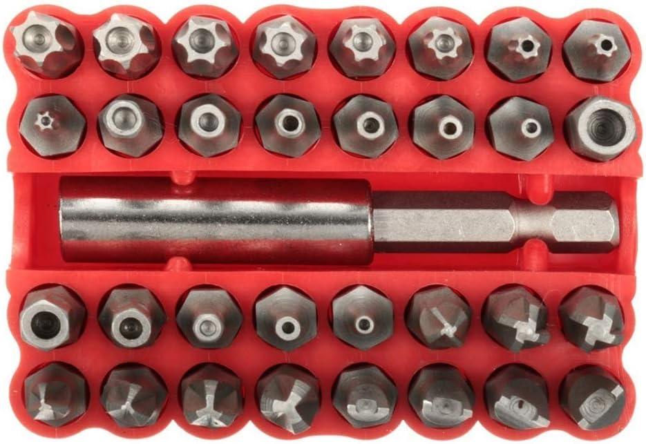 Festnight 33 piezas Juego de brocas de estrella hexagonal Torx CRV6150 a prueba de manipulaciones con soporte magn/ético para cualquier taladro Destornilladores Puntas Herramientas de mano