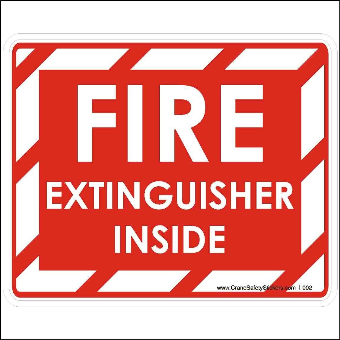 Crane Safety Sticker Fire Extinguisher Inside Bucket Truck Safety Decal