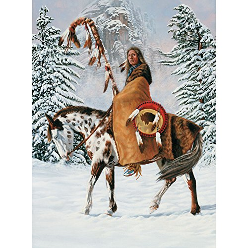 Bits and Pieces - 1000 Piece Jigsaw Puzzle for Adults - Red Cloud - 1000 pc Horse Winter Native American Jigsaw by Artist Jon Ren