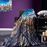 smallbeefly City Digital Printing Blanket Panoramic View of Dubai Arabian Cityscape High Rise Buildings Traffic Roads Summer Quilt Comforter Blue Ivory Marigold