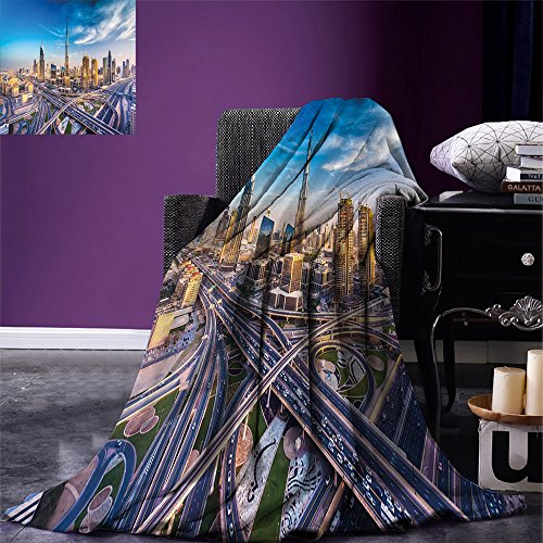 smallbeefly City Digital Printing Blanket Panoramic View of Dubai Arabian Cityscape High Rise Buildings Traffic Roads Summer Quilt Comforter Blue Ivory Marigold by smallbeefly