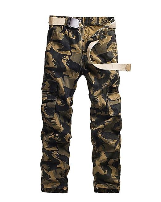 Quge Hombre Vintage Pantalones Multi Bolsillos Militar Cargo Camuflaje Pants De Trabajo Casual: Amazon.es: Ropa y accesorios