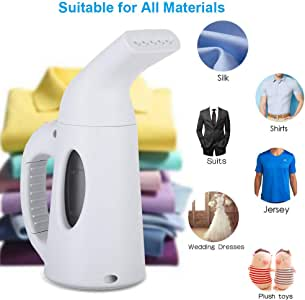 Portable Garment Steamer | 850W Handheld Mini Clothing Fabric Steamer for Home and Travel Garments Wrinkle Removal Cleaner (from USA, White)
