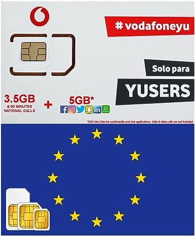 Europe Carte Sim Par Vodafone Espagne 3 5 Go 5 Go Supplementaire