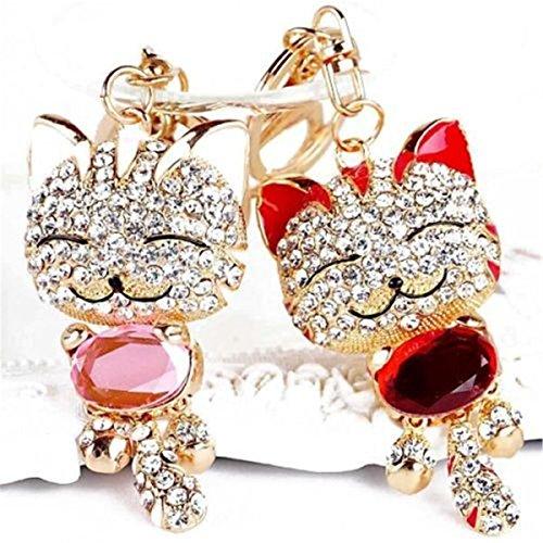 A Pair of Red & Pink Cute Cat Kitten Bling Crystals Rhinestone Key Chain Keyring Holder Handbag Charm