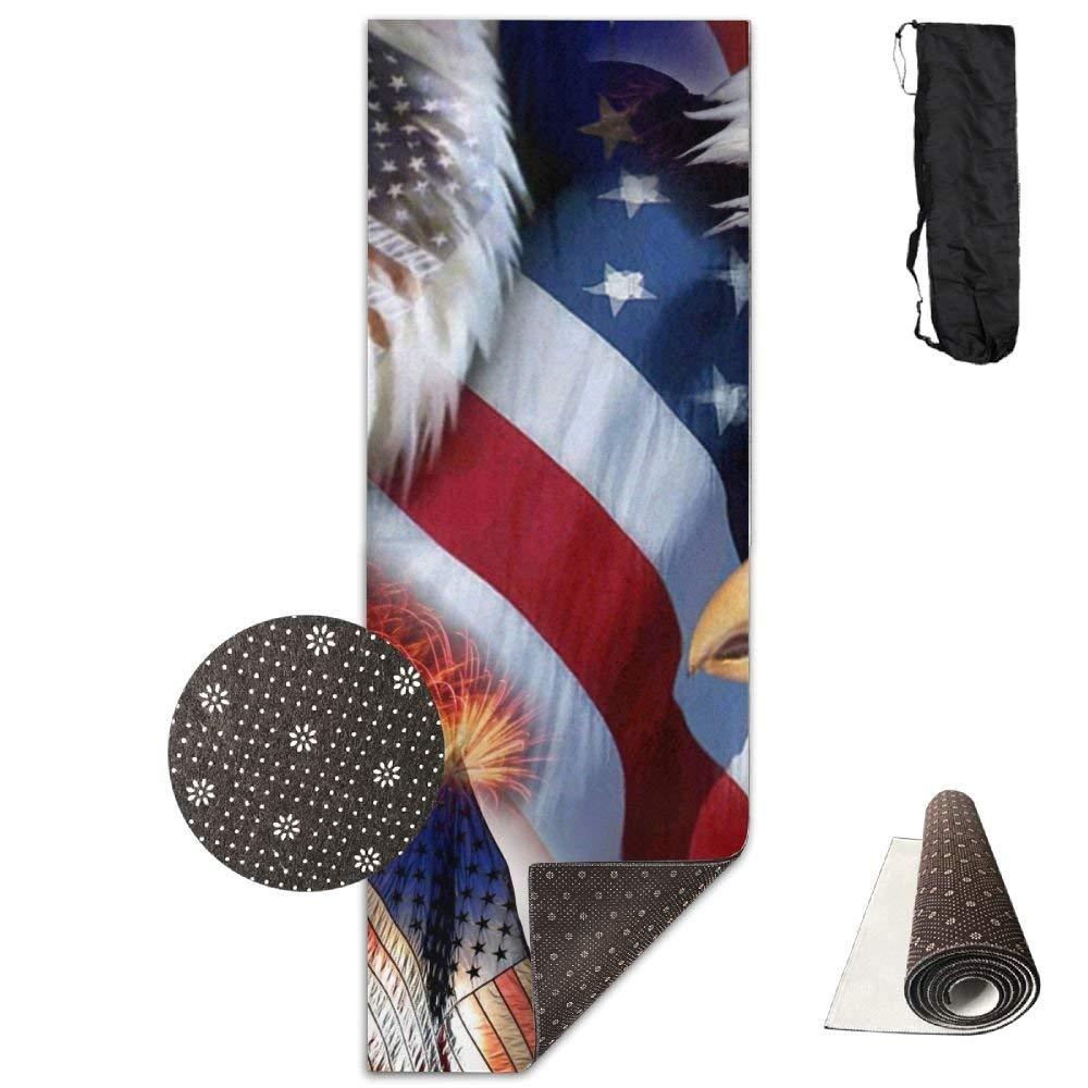 American Flag Eagle Head Deluxe Yoga Mat Aerobic Exercise Pilates