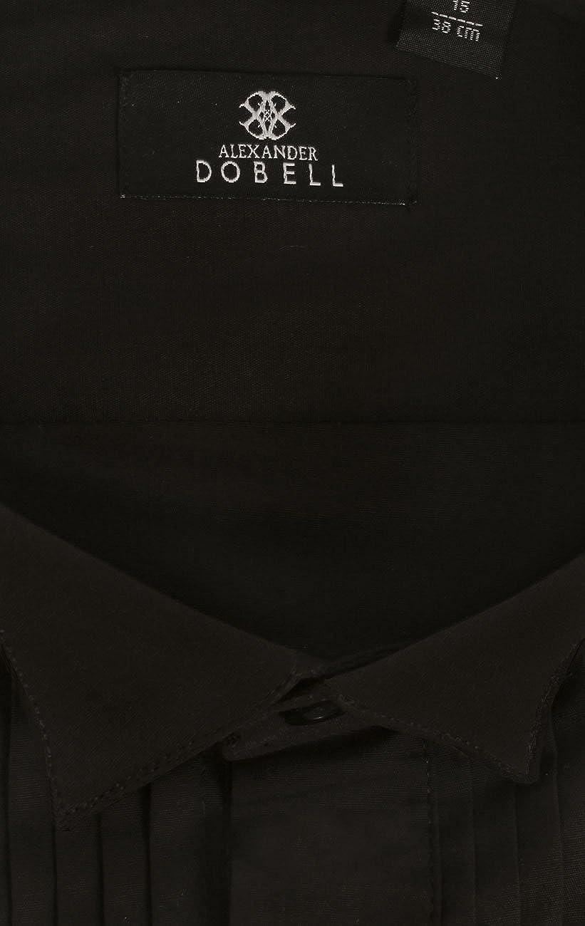 Dobell Homme Chemise Habill/ée Noire Col Cass/é Pliss/ée Devant