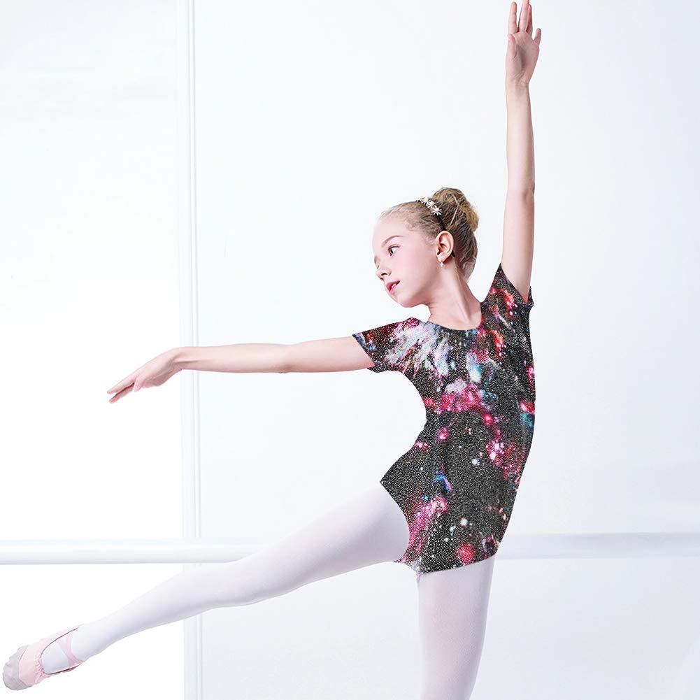 Idgreatim Girls Gymnastic Leotard Cute 3D Graphic Sparkly Short Sleeve Ballet Dance Unitard Outfit for Kids 2-10 Years
