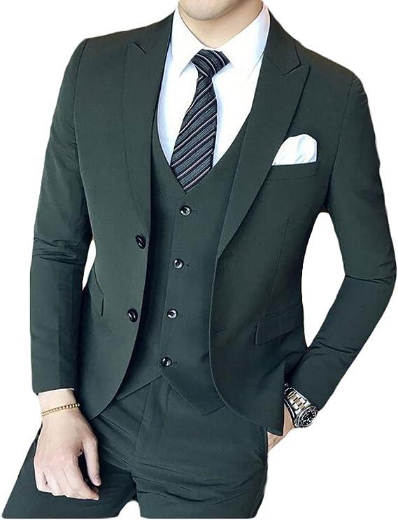 Botong Trajes De Boda De 3 Piezas Color Verde Oscuro Clothing
