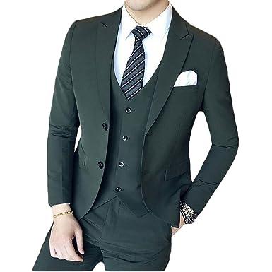 Men\'s Dark Green 3 Pieces Suits Slim Fit Wedding Suits Groom Tuxedos ...