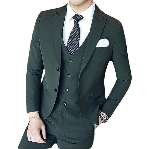 Men S Dark Green 3 Pieces Suits Slim Fit Wedding Suits Groom Tuxedos