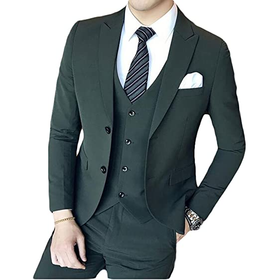 Men\'s Dark Green 3 Pieces Suits Slim Fit Wedding Suits Groom ...