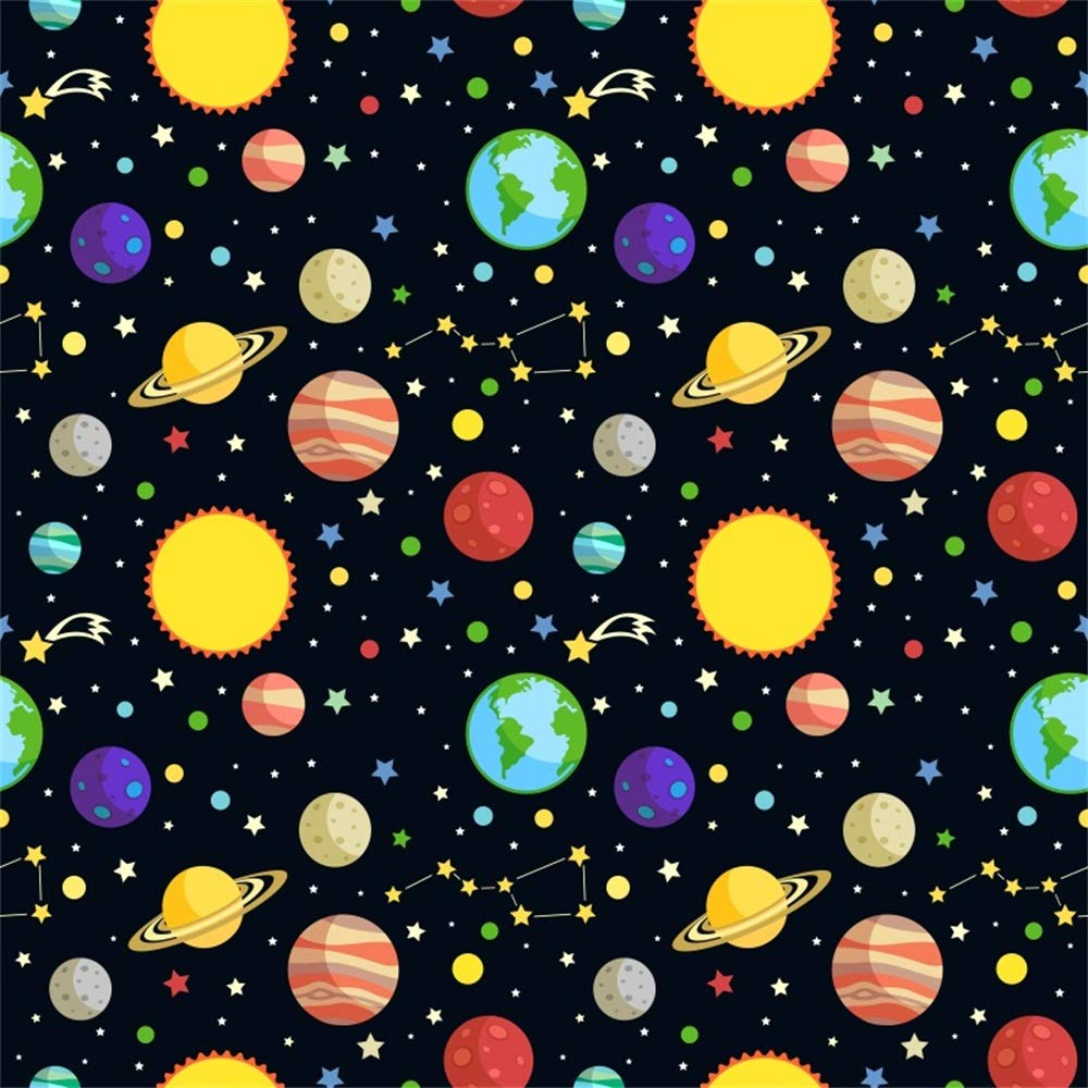 LFEEY 10x10ft Cartoon Space Planets Backdrop Stars Universe Solar System Earth Moon Sun Pattern Photography Background Classroom Kids Birthday Party Events Decoration Wallpaper