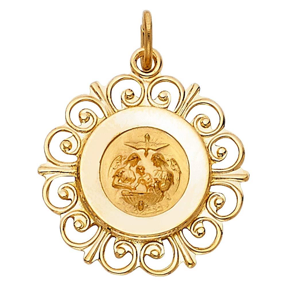 Wellingsale 14K Yellow Gold Polished Ornate Religious Baptism Charm Pendant