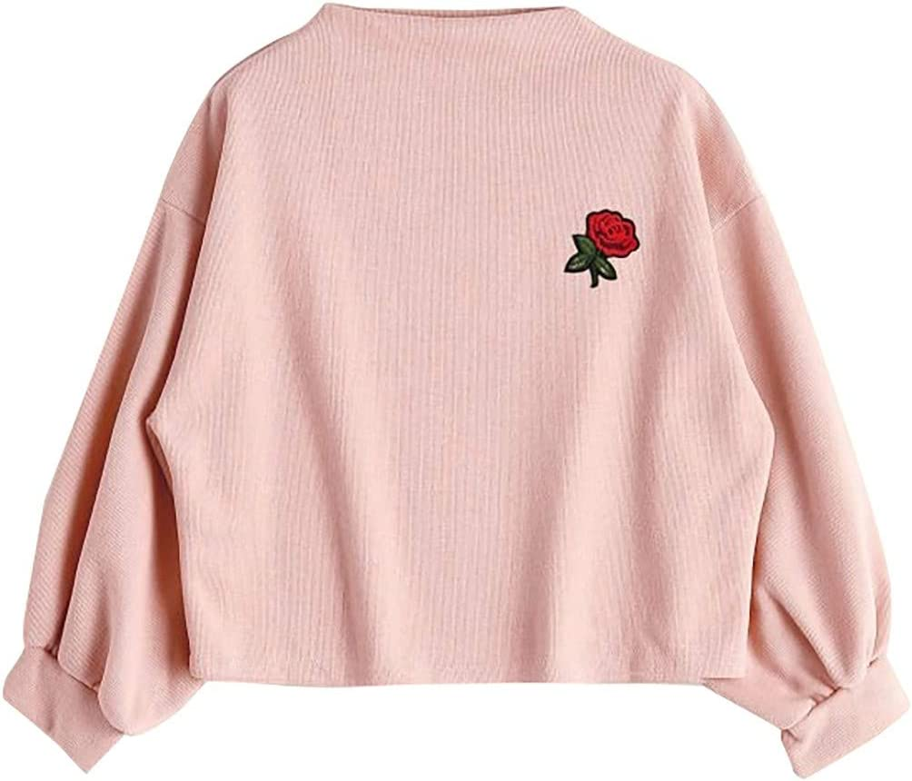 Autumn Winter Blouse for Women Teen Girl Pullover Sweatshirt Long Sleeve Rose Embroidery t-Shirt Tops Casual Tracksuit