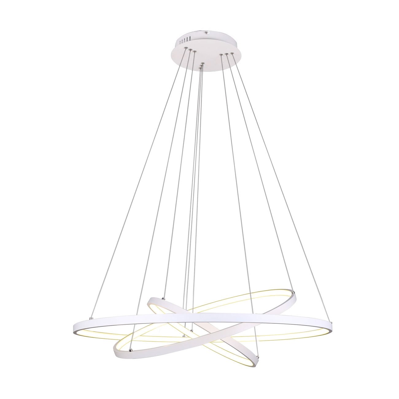 Unitary Brand Modern White Acrylic Remote Control Nature White and Warm White Dimmable LED 3 Rings Pendant Light Max 90W Painted Finish