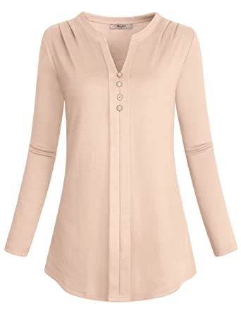 abd30c2f379 Miusey Women s Notch V Neck Long Sleeve Pleat Knit Henley Tunic ...