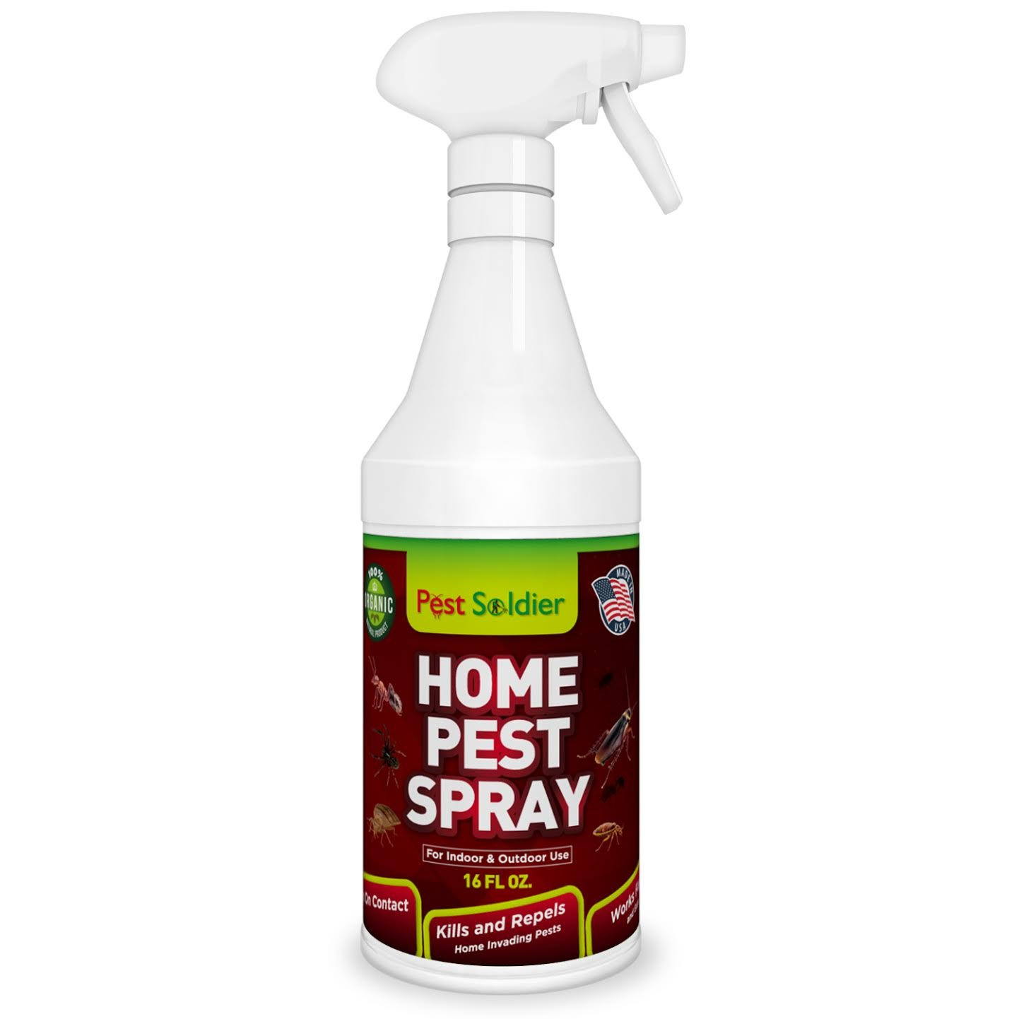 Pest Soldier Organic Home Pest Control Spray - Kills & Repels, Ants, Roaches, Spiders, and Other Pests Guaranteed - Natural Insect Killer - Child & Pet Safe - Indoor/Outdoor Spray - 16oz