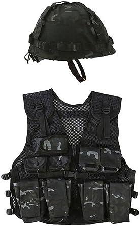Kids Army Waistcoat BTP Black Camo Tactcal Vest Fancy Dress Up Soldier Childrens
