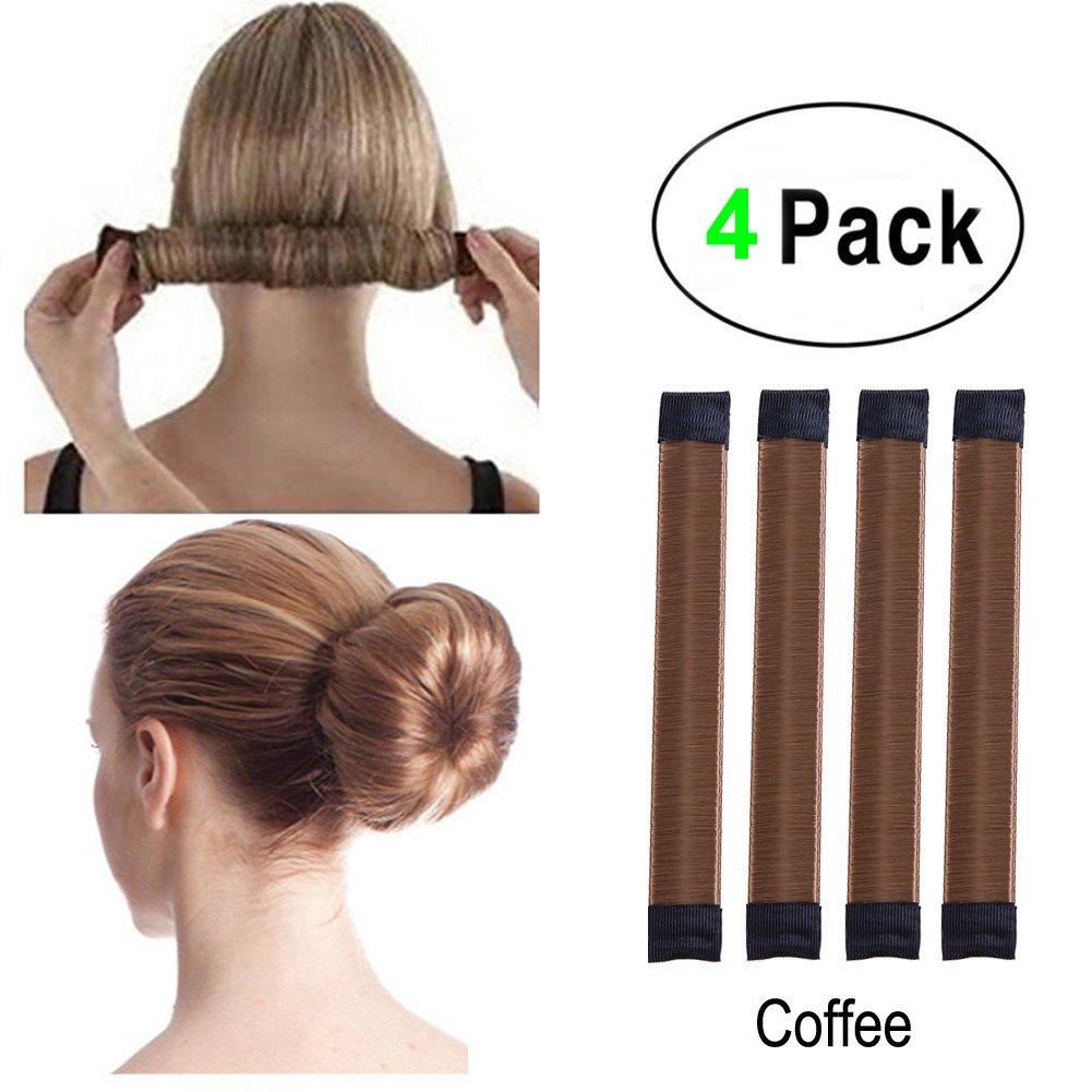 Lot de 4 accessoires de cheveux pour faire des chignons - Pour femmes et enfants - Outils pour faire soi-même des coiffures très faciles, des queues de cheval, des chignons « donut » - Parfaits pour l'école, la vie quotidienne, le yoga, la danse, pour un a
