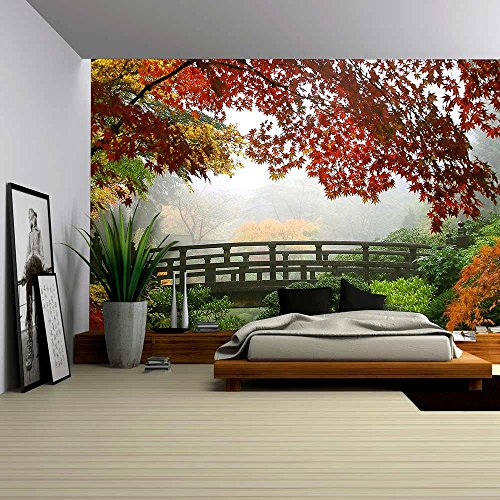 wall26 – Misty Fall Morning in Portland'S Japanese Gardens – Removable Wall Mural | Self-adhesive Large Wallpaper – 100×144 inches