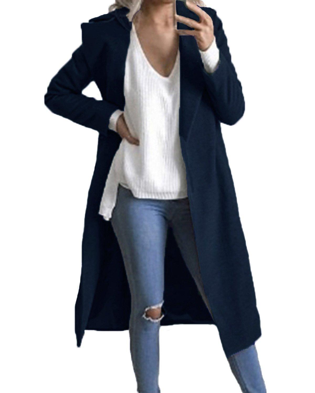 Auxo Women Trench Coat Long Sleeve Pea Coat Lapel Open Front Long Jacket Overcoat Outwear Navy US 4/Asian S