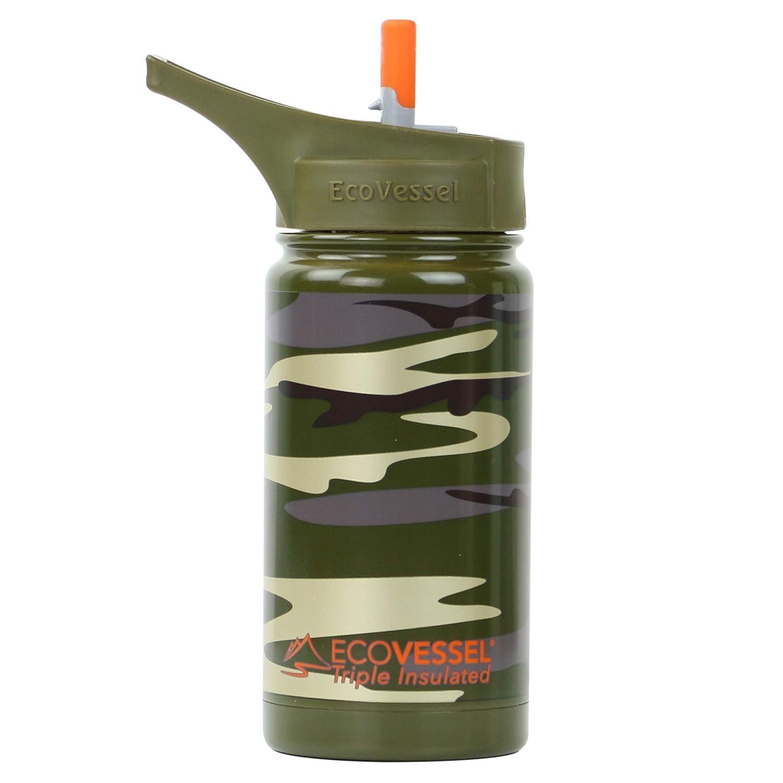 Ecovessel Kid 's Edelstahl Wasser Flasche mit Flip Stroh Top, 13 Gramm, Camouflage Grün